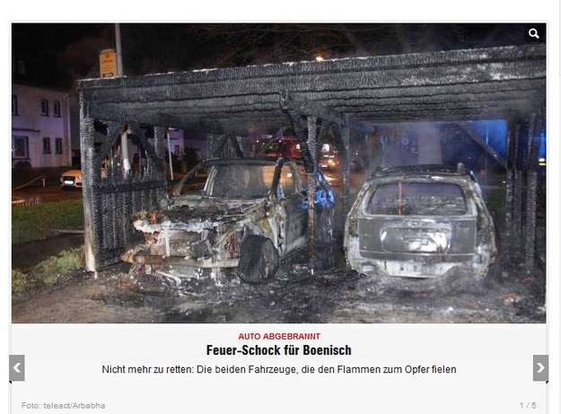 Szczątki spalonych samochodów / fot. bild.de /Internet