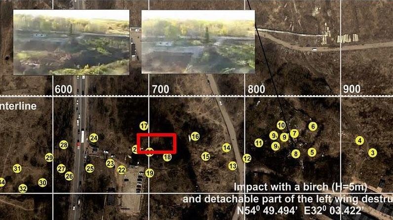 Szczątki Tu-154M na zdjęciach satelitarnych /http://www.smolenskzespol.sejm.gov.pl/   /