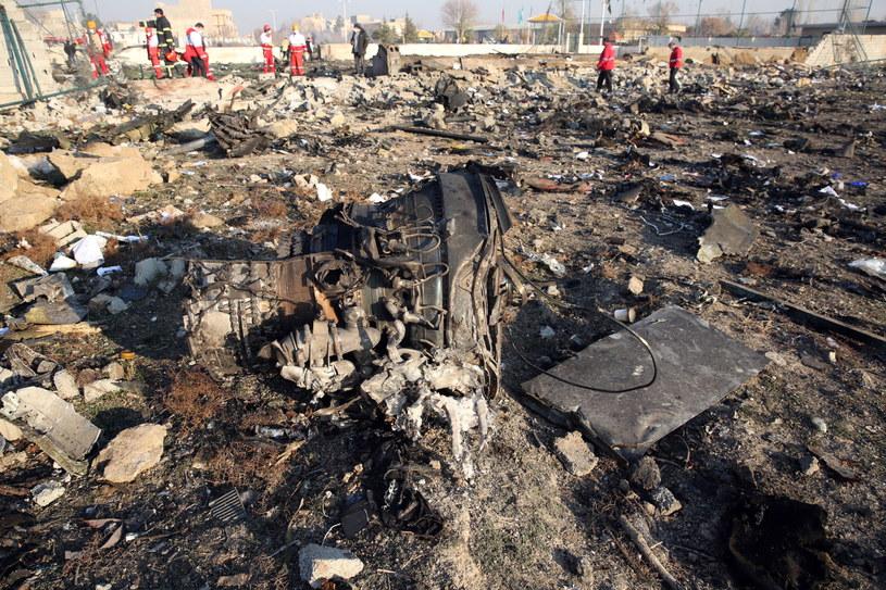 Szczątki ukraińskiego boeinga /Abedin Taherkenareh   /PAP/EPA