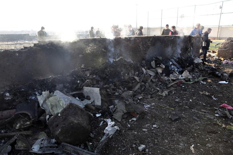 Szczątki ukraińskiego samolotu, który rozbił się 8 stycznia 2020 r, w Teheranie /Abedin Taherkenareh   /PAP/EPA