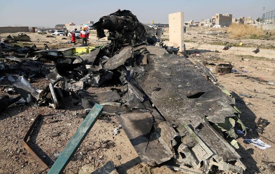 Szczątki ukraińskiego samolotu, który został zestrzelony przez Irańczyków /Abaca /PAP