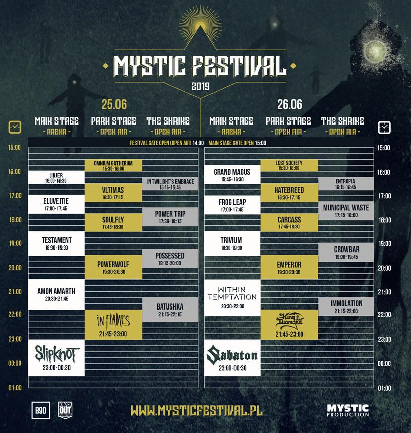Szczegółowy podział na sceny Mystic Festival 2019 /materiały prasowe