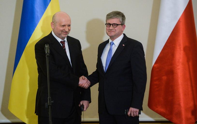 Szef BBN Paweł Soloch (P) i sekretarz ukraińskiej rady bezpieczeństwa Ołeksander Turczynow /Jakub Kamiński   /PAP