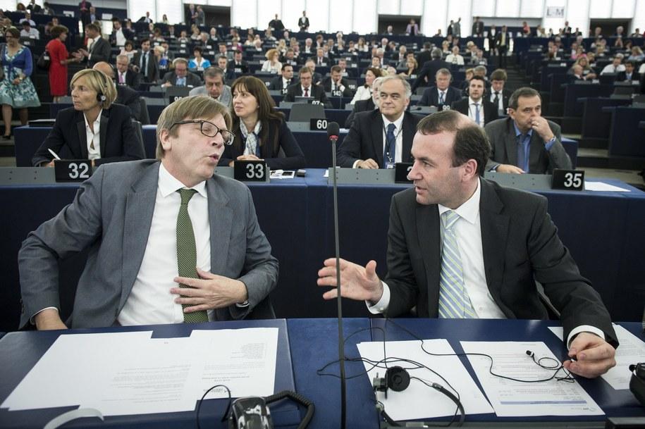 Szef europejskich liberałów Guy Verhofstadt rozmawia z liderem Europejskiej Partii Ludowej Manfredem Weberem podczas sesji plenarnej Parlamentu Europejskiego w Strasburgu (lipiec 2014) /Wiktor Dabkowski    /PAP