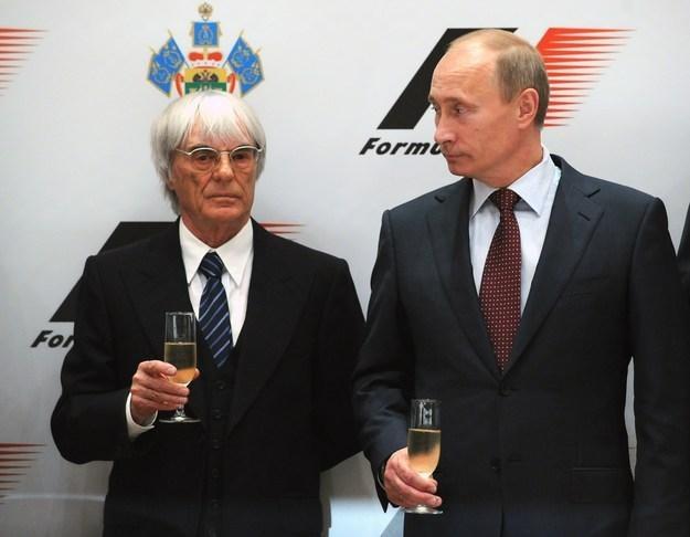 Szef F1 Bernie Ecclestone i premier Rosji Władimir Putin /AFP