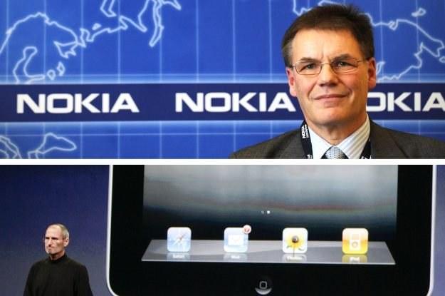 Szef firmy Nokia kontra szef firmy Apple - w tej walce raczej nie będzie zwycięzców /AFP