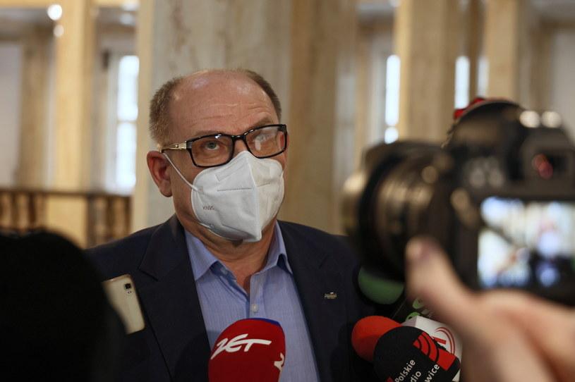 Szef górniczej Solidarności Bogusław Hutek w Gmachu Sejmu Śląskiego w Katowicach /PAP