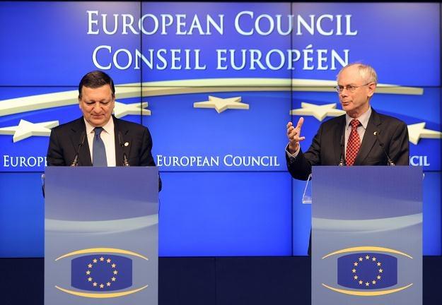 Szef Komisji Europejskiej Jose Barroso i przewodniczący Rady Europejskiej Herman Van Rompuy /AFP