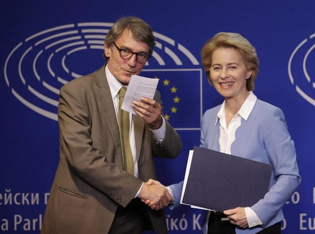 Szef Paramentu Europejskiego David Sassoli i przyszła szefowa Komisji Europejskiej Ursula von der Leyen /OLIVIER HOSLET /PAP/EPA