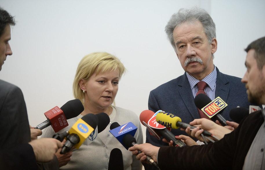 Szef PKW sędzia Wojciech Hermeliński i szefowa KBW Beata Tokaj /Bartłomiej Zborowski /PAP