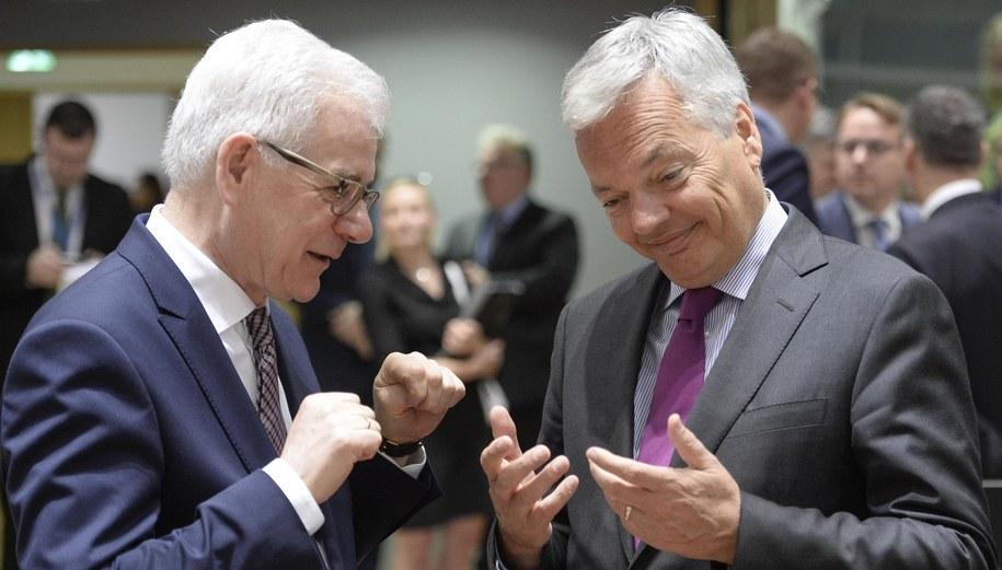 Szef polskiego MSZ Jacek Czaputowicz i minister spraw zagranicznych Belgii Didier Reynders /Wiktor Dąbkowski   /PAP/EPA