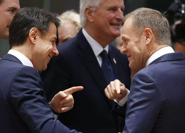 Szef Rady Europejskiej Donald Tusk i premier Włoch na szczycie w Brukseli /JULIEN WARNAND /PAP/EPA