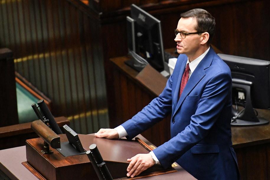 Szef rządu Mateusz Morawiecki w Sejmie /Piotr Nowak /PAP