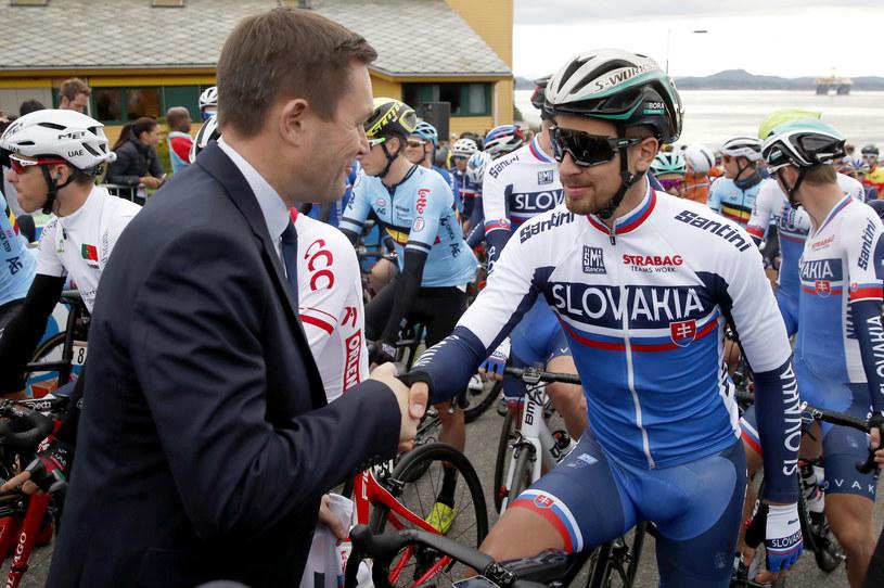 Szef UCI David Lappartient (z lewej) i kolarski mistrz świata Peter Sagan /AFP