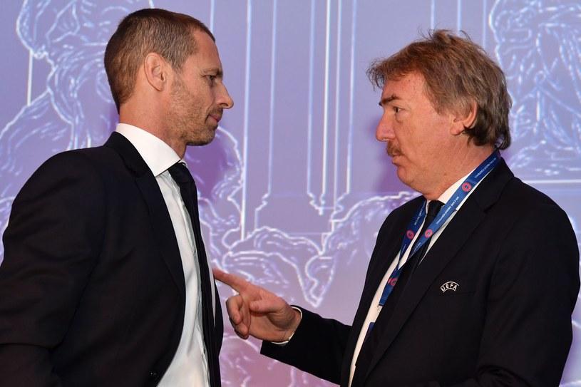 Szef UEFA Aleksander Czeferin (z lewej) i szef PZPN-u Zbigniew Boniek /AFP