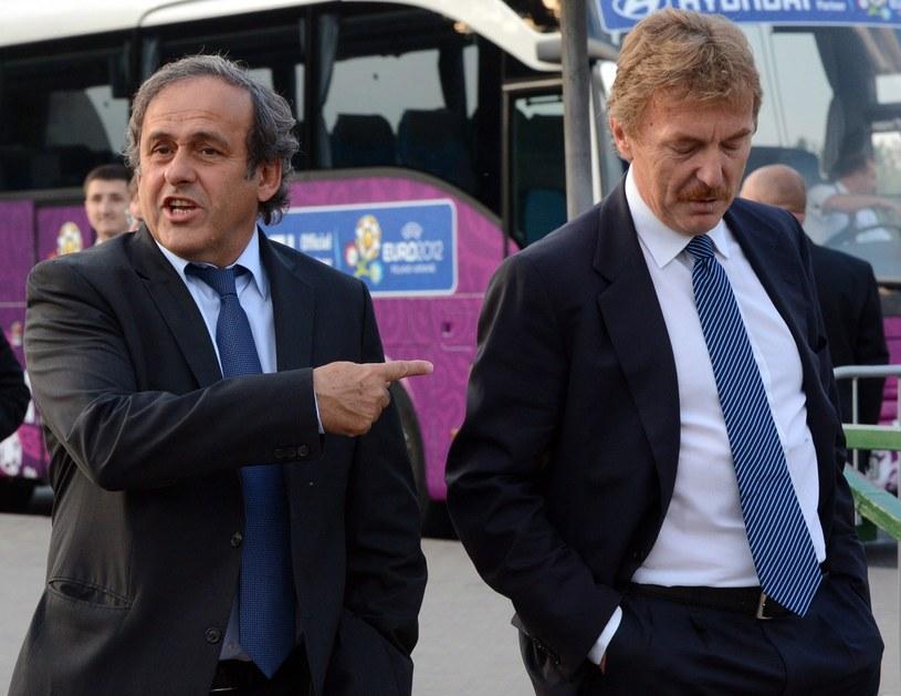 Szef UEFA Michel Platini i Zbigniew Boniek podczas Euro 2012 w Polsce /AFP