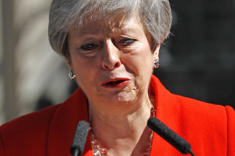 Szefowa brytyjskiego rządu podczas wygłaszania oświadczenia o swoim odejściu z urzędu /AFP