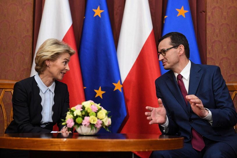 Szefowa KE Ursula von der Leyen i premier Mateusz Morawiecki / PAP/Radek Pietruszka /PAP