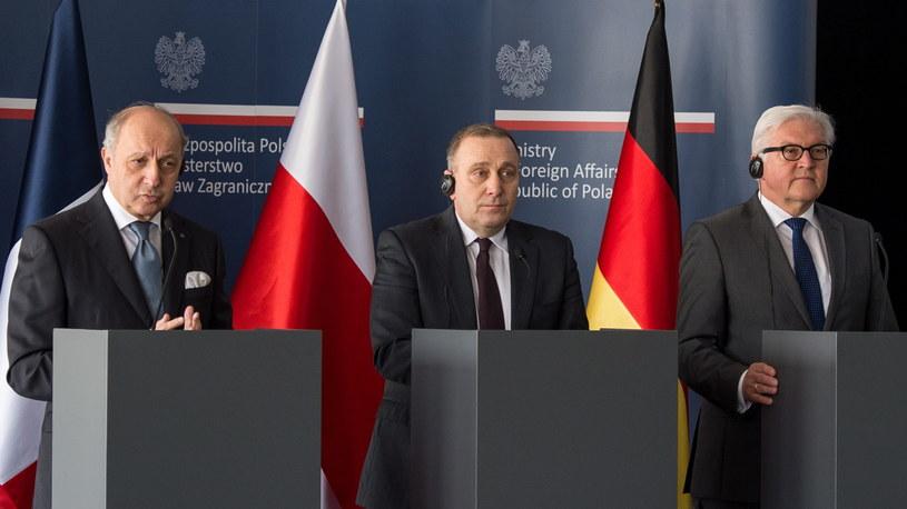 Szefowie MSZ Polski, Niemiec i Francji podpsiali list /Maciej Kulczyński /PAP