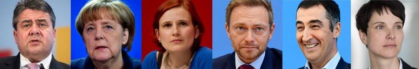 Szefowie niemieckich partii biorących udział w wyborach: Angela Merkel z CDU/CSU, Sigmar Gabriel z Socjaldemokratycznej Partii Niemiec, Katja Kipping z lewicowej Die Linke, Cem Özdemir z partii Zieloni, Christian Lindner z Wolnej Partii Demokratycznej i Frauke Petry z AfD /AFP