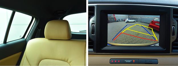 Szerokie słupki ograniczają widoczność, ale parkowanie ułatwiają czujniki i kamera cofania - seryjne (podobnie jak system nawigacyjny) wyposażenie Sportage'a w wersji L. /Motor