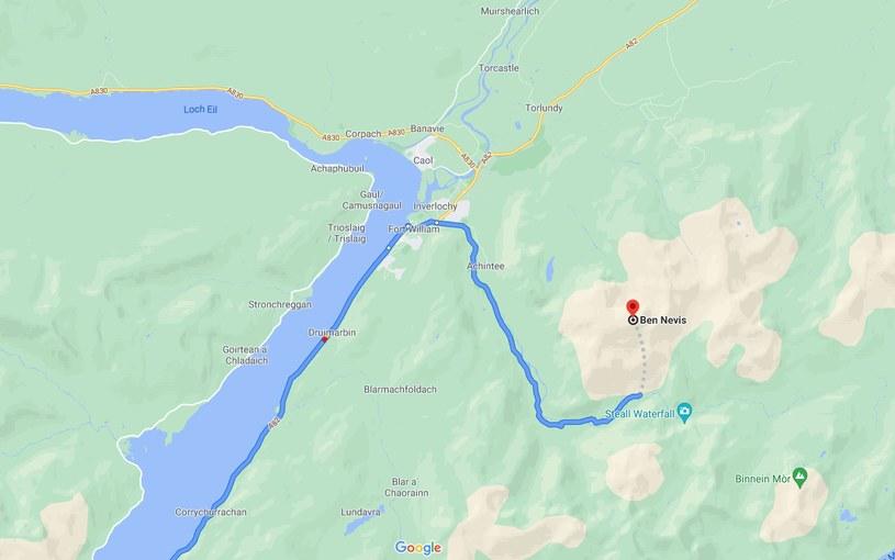 Szkockie organizacje wspinaczkowe twierdzą, że Google sugeruje niebezpieczne trasy /źródło: Google Maps /