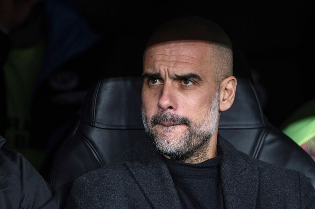 Szkoleniowiec Manchesteru City Pep Guardiola w czasie meczu The Citizens z Realem Madryt w 1/8 finału Ligi Mistrzów (26 lutego 2020) /Rodrigo Jimenez /PAP/EPA