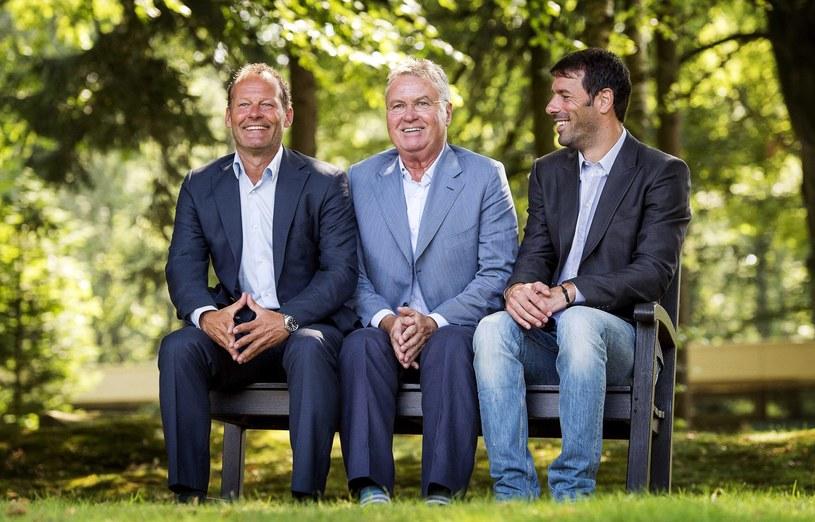 Sztab reprezentacji Holandii: od lewej Danny Blind, Guus Hiddink i Ruud van Nistelrooy /PAP/EPA