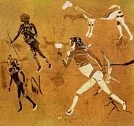 Sztuka Czarnej Afryki: malarstwo naskalne, jaskinia Tsisab (RPA) /Encyklopedia Internautica