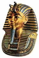 Sztuka starożytnego Egiptu: maska z grobowca Tutanchamona wykonana ze złota i kamieni półszlache /Encyklopedia Internautica