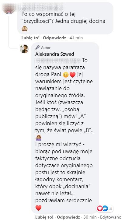 Szwed odpowiedziała na komentarze fanów pod postem, https://www.facebook.com/aleksandraszwed.official /Facebook