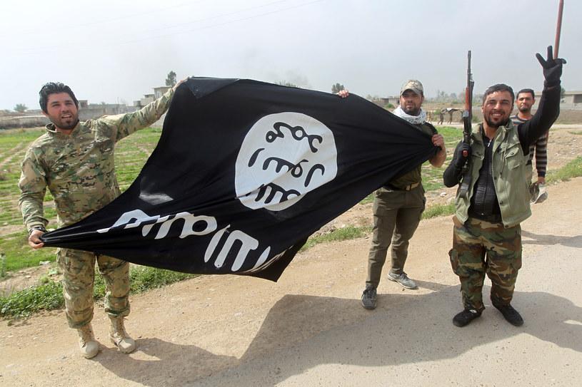 Szyici walczący przeciwko islamskimi radykałom z flagą IS /AFP