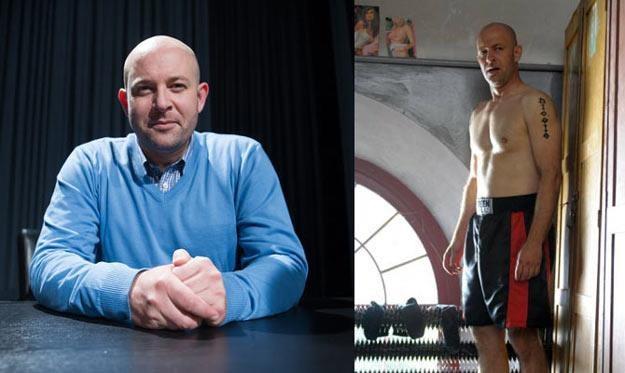 """Szymon Bobrowski w """"Intrydze"""" (L) i - bardziej fit - w filmie """"Bokser"""" (P) - fot. Bartosz Krupa /East News"""