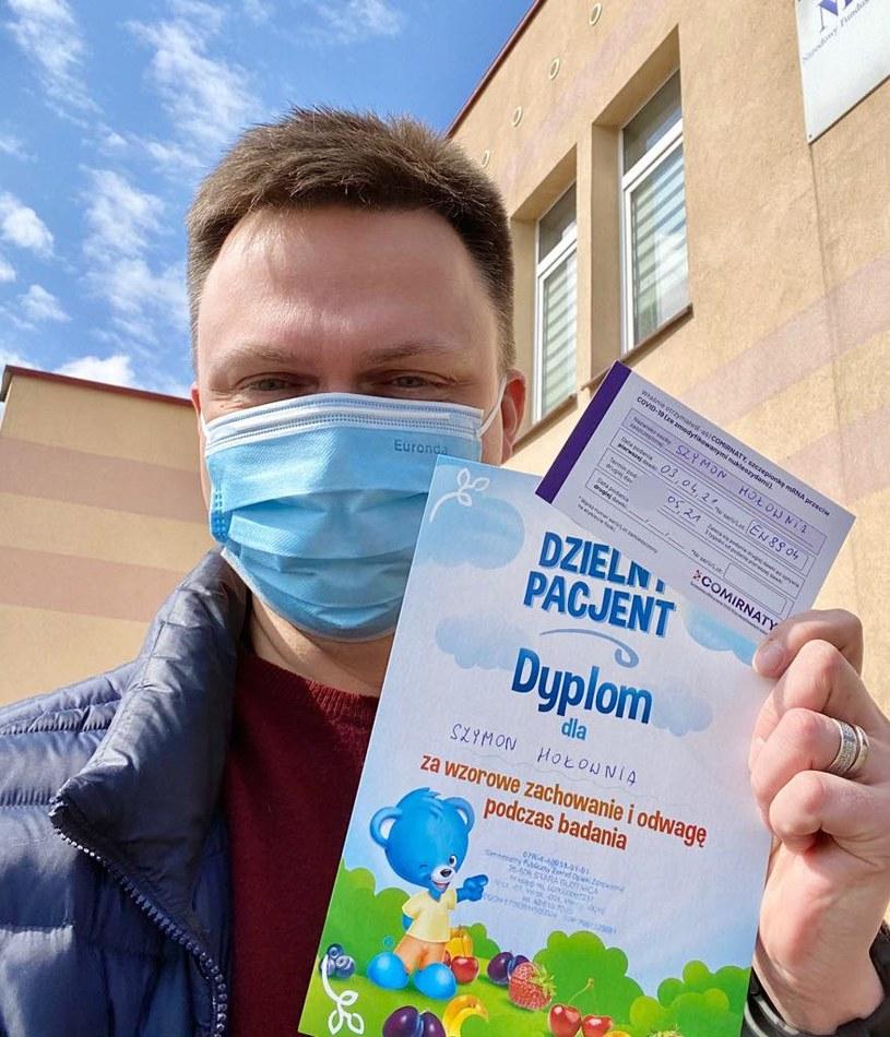 Szymon Hołownia zaszczepił się Pfizerem /Szymon Hołownia /facebook.com