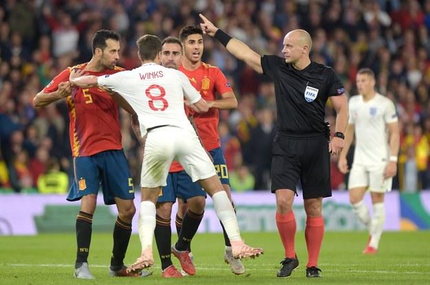 Szymon Marciniak podczas meczu Hiszpania - Anglia /AFP