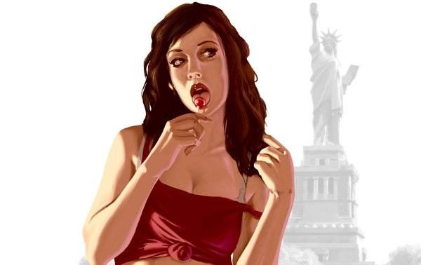 Ta piękna pani z lizakiem w ustach reklamowała Grand Theft Auto IV na billboardach /Informacja prasowa