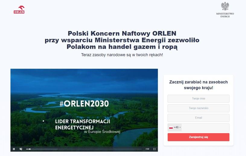 Ta strona to oszustwo. Nie ma nic wspólnego z firmą Orlen /INTERIA.PL