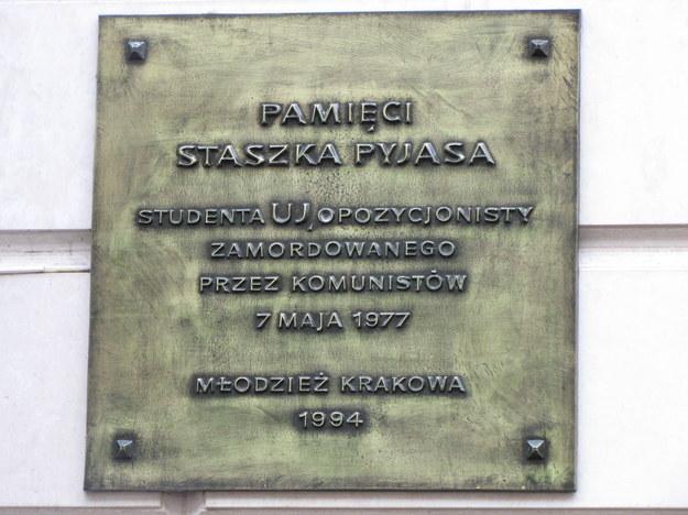 Tablica upamiętniająca Stanisława Pyjasa na ul. Szewskiej w Krakowie /Archiwum RMF FM