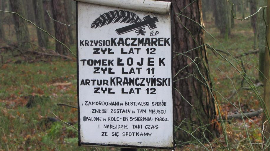 Tablica upamiętniająca trzech chłopców zabitych zamordowanych przez Trynkiewicza /Monika Gosławska /RMF FM
