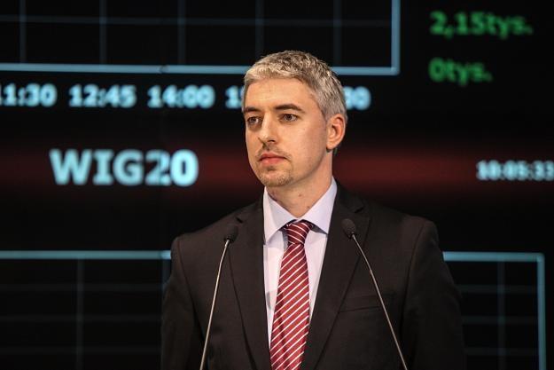 Tadas Goberis, dyrektor generakny AviaAM Leasing, podczas debiutu na GPW /PAP