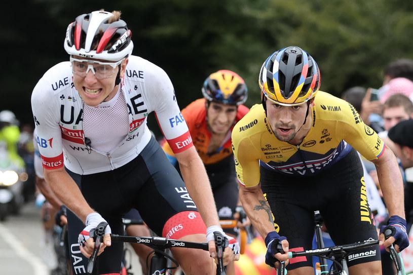 Tadej Pogaczar i Primoż Roglicz podczas Tour de France /AFP