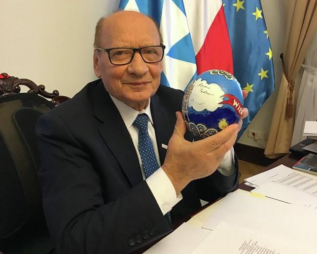 Tadeusz Ferenc z pisanką /Józef Polewka /RMF FM