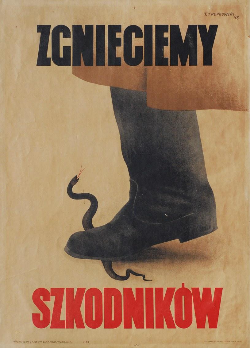 Tadeusz Trepkowski, Zgnieciemy szkodników, 1945 rok, plakat, Muzeum Niepodległości w Warszawie /materiały prasowe