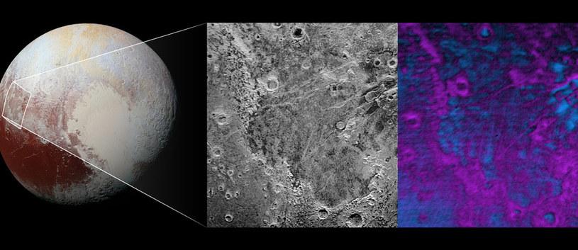 """Tajemnicze ślady """"ugryzienia"""" na zachodniej półkuli Plutona /NASA"""