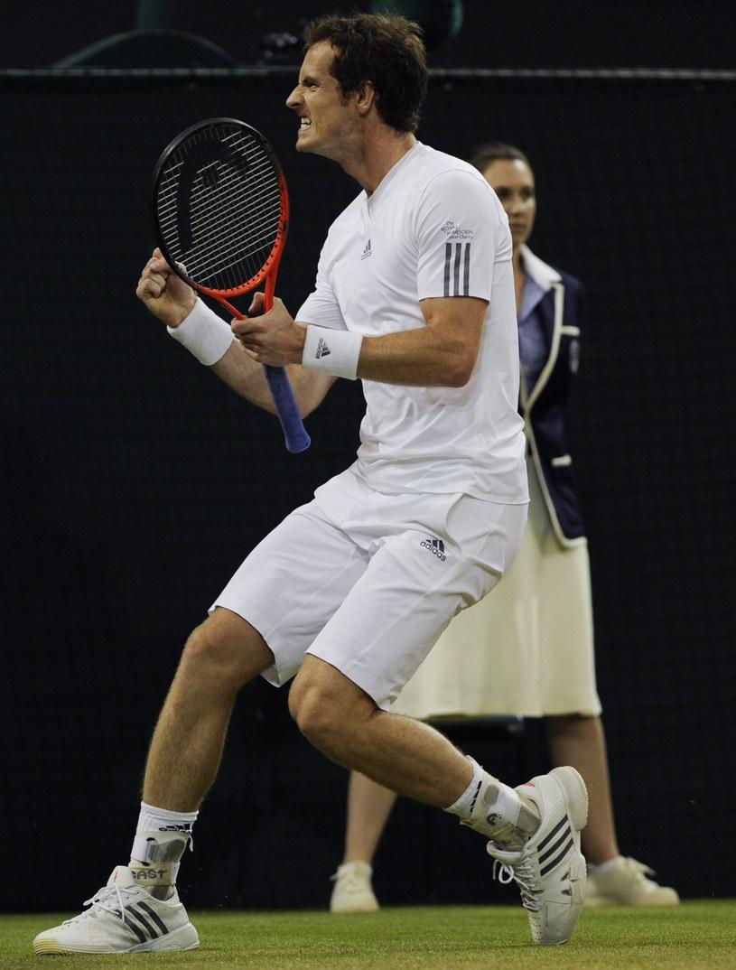 Tak Andy Murray cieszył się z pokonania Jerzego Janowicza /PAP/EPA