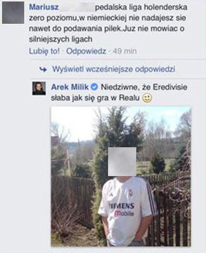 Tak Arkadiusz Milik uciszył kibica na Facebooku /Internet
