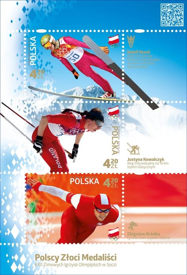 Tak będą wyglądać znaczki z wizerunkami Kamila Stocha, Justyny Kowalczyk i Zbigniewa Bródki. /INTERIA.PL