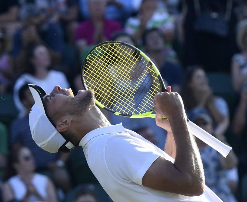 Tak cieszył się Jerzy Janowicz z awansu do III rundy Wimbledonu /PAP/EPA