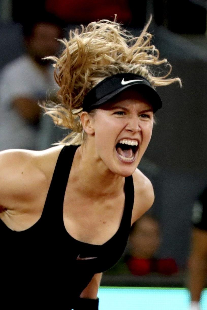 Tak cieszyła się Eugenie Bouchard po wygranej z Marią Szarapową /AFP