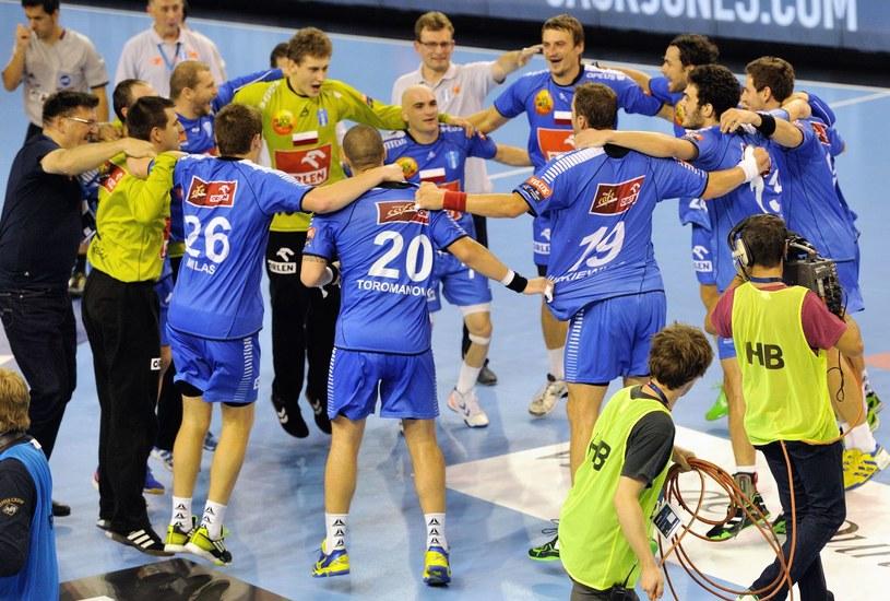 Tak cieszyli się piłkarze ręczni Orlenu Wisły Płock po jednym ze zwycięstw w Lidze Mistrzów /AFP